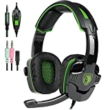 SADES PS4 Gaming Headphone SA930 3.5MM Stereo Surround Lightweight Gaming Headset with Microphone Volume Control for PC/MAC/PS4/Smartphone/Tablets (Black+Green) For Sale