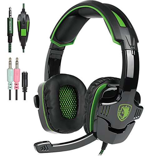SADES PS4 Gaming Headphone SA930 3.5MM Stereo Surround Lightweight Gaming Headset with Microphone Volume Control for PC/MAC/PS4/Smartphone/Tablets (Black+Green) by TTk