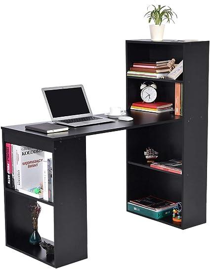 lyrlody Mesa de Ordenador PC o Escritorio con Estanteria, Mesa Ordenador Esquina y Estanteria Mesa de Ordenador Esquina (Negro)
