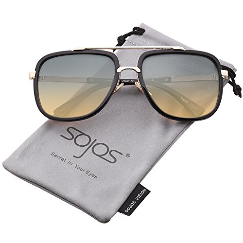 SojoS Classic Square Aviator Sunglasses Oversized Double Bar Metal Frame SJ1080 With Black Frame/Green&Brown - High Bridge Sunglasses