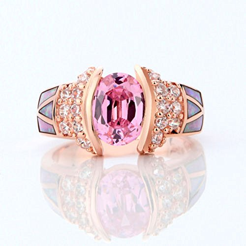 A.Minnymin Rose Gold Filled Pink Sapphire Opal Wedding Ring Women's Fashion Jewelry Size6-9 (7) -