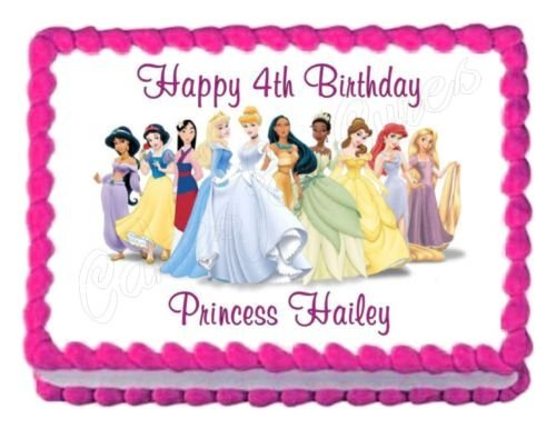 DISNEY PRINCESS party decoration edible birthday cake image cake topper (Disney Princess Cake Decoration)