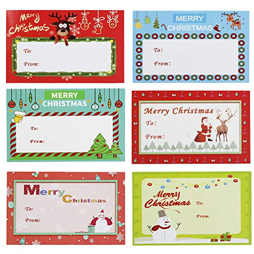 500 Pcs Adhesive Christmas Gift Tag Stickers Labels Looks Great on Gifts/Presents, Wrapping Paper and Gift Bags