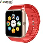 AOSMART [US Warranty] All-in-1 Smartwatch with camera and sim card slot, Bluetooth Fitness Smart Watch for iPhone, Android, Samsung, Galaxy Note, Nexus, HTC, Sony – Red