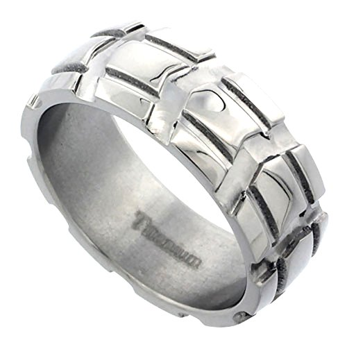 Titanium Wedding Carved Polished Comfort