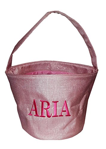 Custom Personalization -Shimmer Childrens Fabric Bucket Tote Bag - Toys - Easter Basket (Embroidered Name - Pink)