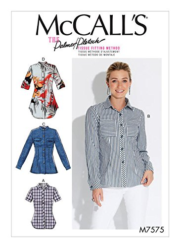 MCCALLS M7575 Misses' Button-Down Shirts w/Collar, Sleeve Pocket Variations (SIZE 8-16) SEWING PATTERN