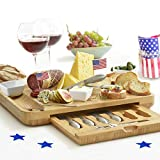 Premium Cheese Board & Utensils Gift Set – Extensive Serving Set –X- Large Bamboo Board & 6 Stainless Steel Cheese Knives & 6 Appetizer Forks & 3 Ceramic (silver, with cermic dishes)