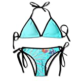 Women Ferris Wheel Sky Blue Printing Summer Sexy Two Pieces Beach Suit