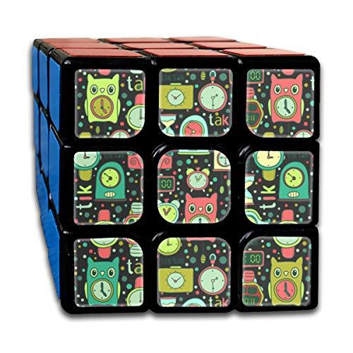 (EYFlife Cute Clock 3x3 Rubik Smart Cube Smooth Magic Cube Sequential Puzzle)
