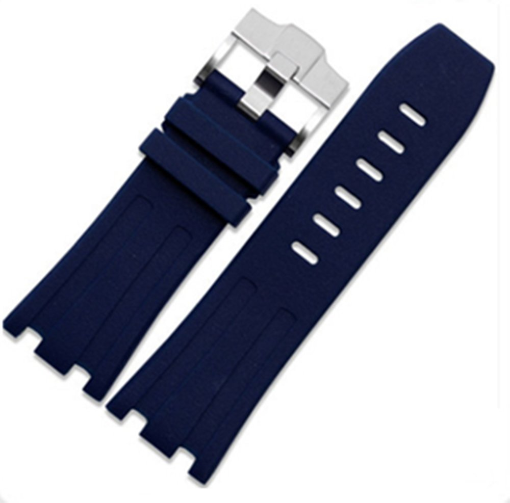 28mm Rubber Watch Strap Band OEM style for AP100 Audemars Piguet Royal Oak offshore Multi Camo Color (Blue)