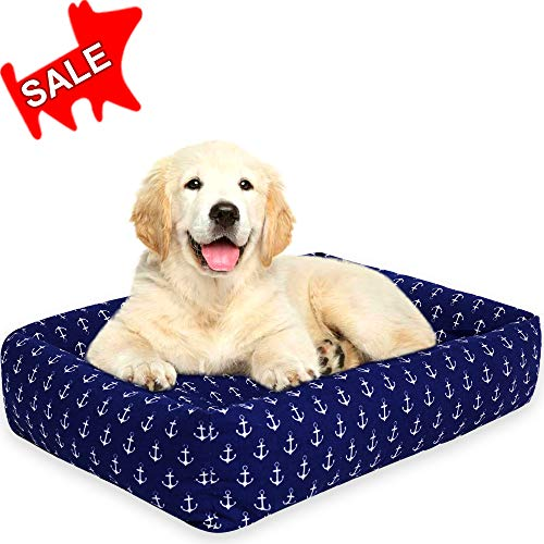 Urban Animals - Dog Bed Rectangle Pet Bed Sleep Cozy Beds for Small Medium Large Dogs & Cats Pet Bedding with Designer Printed White Anchors on Navy Blue Pattern (Medium)