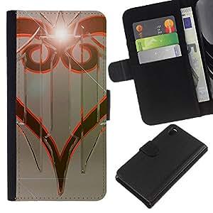 YiPhone /// Tirón de la caja Cartera de cuero con ranuras para tarjetas - Diseño tribal - Sony Xperia Z3 D6603