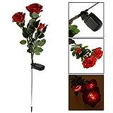 Svitlife Waterproof Solar Power 3-Flower Rose Shaped LED Light Green & Red