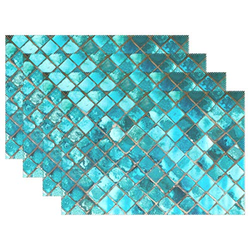 ALAZA Turquoise Blue Placemats for Dining Table Heat Resistant Kitchen Table Decor Washable Table Mats Set of 4