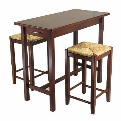 Amazon.com: Juego de isla de cocina mesa con 2 taburetes ...