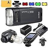 Godox AD200 TTL 2.4G HSS 1/8000s Pocket Flash Light Double Head 200Ws 2900mAh Lithium Battery+Godox XPro-N TTL 2.4 G Wireless Flash Trigger Compatible for Nikon,Godox BD-07 Barn Door