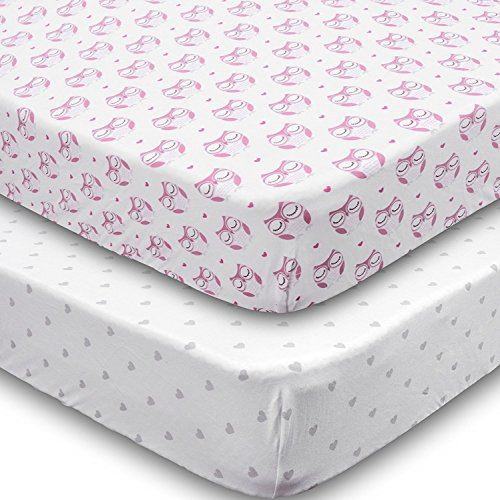Playard Sheets, 2 Pack Owls & Hearts Fitted Soft Jersey Cotton Playpen Bedding by Jomolly (Image #5)