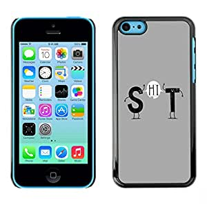 Qstar Arte & diseño plástico duro Fundas Cover Cubre Hard Case Cover para Apple iPhone 5C ( Funny Text Grey Stick Figure Clever Message)