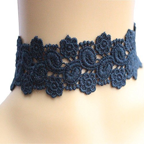 (Acxico® Goddess Dark Blue Lace Embroidery Necklace Costume Play Stage Property)