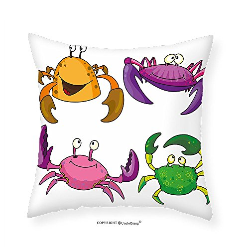 VROSELV Custom Cotton Linen Pillowcase Crabs Decor Children Decor Illustration of Funny Crabs Pattern Cartoon Style Print for Bedroom Living Room Dorm Purple Fern Green - Crab Needlepoint