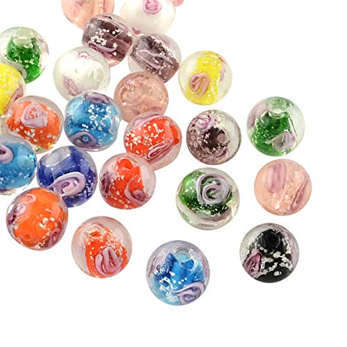 (ARRICRAFT 100pcs Handmade Luminous Inner Flower Lampwork Beads Round Shape Loose Beads for Bracelet Jewelry Making, Mixed Color 10mm)