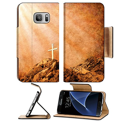 Liili Premium Samsung Galaxy S7 Flip Pu Leather Wallet Case An old wooden Christian cross with spiritual on a textured brown paper Photo 10329712 Simple Snap - Gift Cards Discount Rays