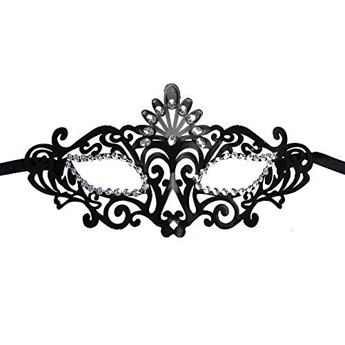 [Luweki Fashion Venetian Hollow Masquerade Halloween Mask Black] (Masquerade Mask Tattoo)