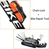 Ezyoutdoor Bike Anti Theft Mini Folding Chain Lock Alloy Steel Mountain Road Cycling Security Motorcycle Anti-theft Lock with 16-in-1 Bike Repair Tool,Random Color
