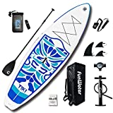 FunWater Inflatable 10'6×33'×6' Ultra-Light (17.6lbs) SUP for All Skill Levels Everything Included with Stand Up Paddle Board, Adj Floating Paddle, Pump, ISUP Travel Backpack, Leash,Waterproof Bag