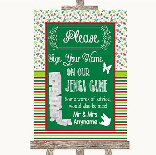 Letrero de boda rojo y verde para invierno, diseño de jenga, color rojo y verde, Framed White Large: Amazon.es: Oficina y papelería