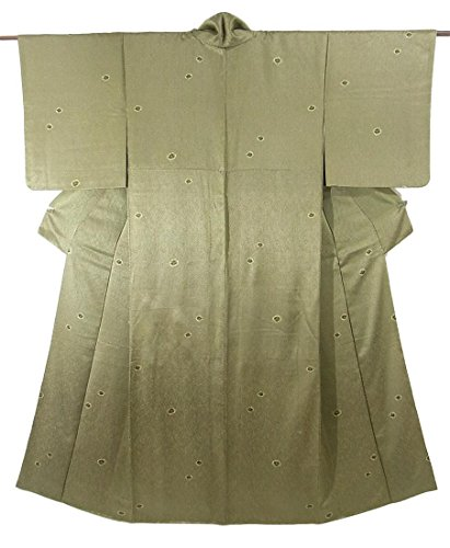 リサイクル 着物  小紋 網目 絞りの模様 正絹 袷 裄63.5cm 身丈152cm