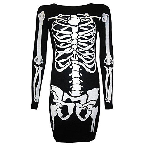 Awesoh Women Fashion Gothic Punk Halloween 3D Printed Skull Skeleton Dresses O-Neck Vestido Sexy (Skeleton Halloween Hairstyles)