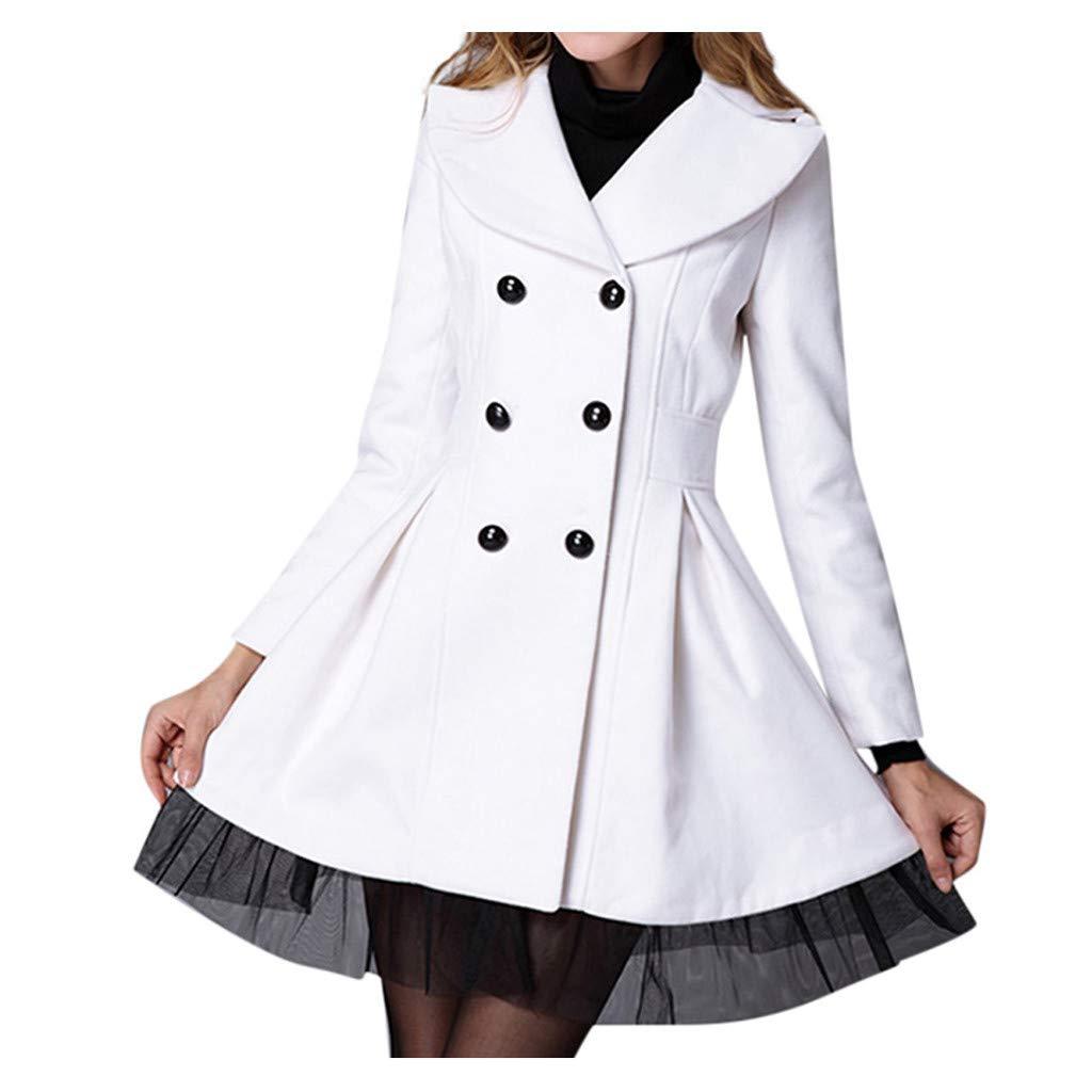 Women Woolen Coat Ladies Flare Double Breasted Trench Jacket Lapel Lace Hem Peacoat Outwear White by Briskorry