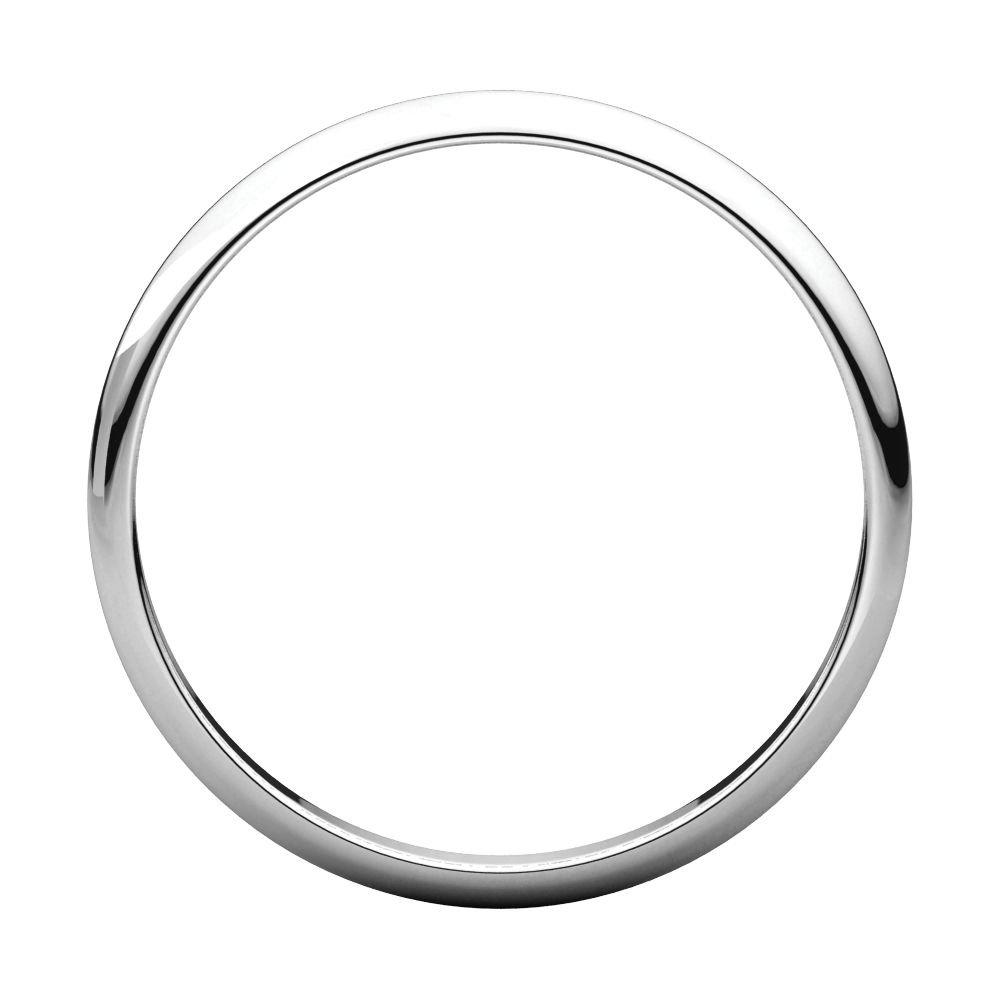 10K White Gold 2mm Half Round Light Band