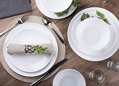 Parhoma White Dinnerware Set, 12-Piece Service