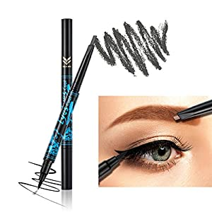 Ladygo 2 in 1 Automatic Eyebrow Pencil with Eyeliner Long-lasting Waterproof Makeup Cosmetic Tool, Grey-5#