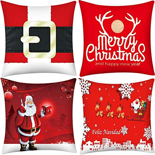 4PC Merry Christmas Pillow Covers, Short Plush Pillowcase Sofa Pad Set Square Cushion Cover for Sofa, Couch, Bed and Car 18x18 inch