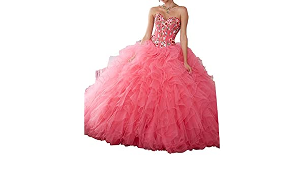 4203e27b01 Amazon.com  BoShi Women s Embroidered Sweet 15 Ruffled Gowns Quinceanera  Dresses  Clothing