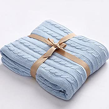 """NTBAY 100% Cotton Cable Knit Throw Blanket Super Soft Warm Multi Color( 51""""x 67"""", Light Blue)"""