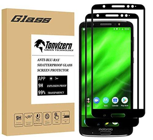 Motorola Moto G6 Plus Tempered Glass Screen Protector,[2-Pack] Tonvizern 0.26mm 9H Hardness Full Coverage Glass Screen Protector for Moto G6 Plus [Black]