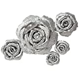 Handcrafted Flowers,Large Crepe Paper FlowersFor Wedding Backdrop, Baby Nursery Home Decor, Birthday Party, Photo Backdrop,Nursery Wall,Archway Decor,Event Decorations(Shiny Silver Rose Set Of 5)