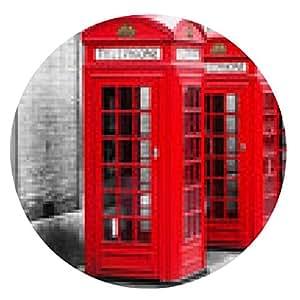 alfombrilla de ratón Cabinas telefónicas en Londres en color método clave - ronda - 20cm