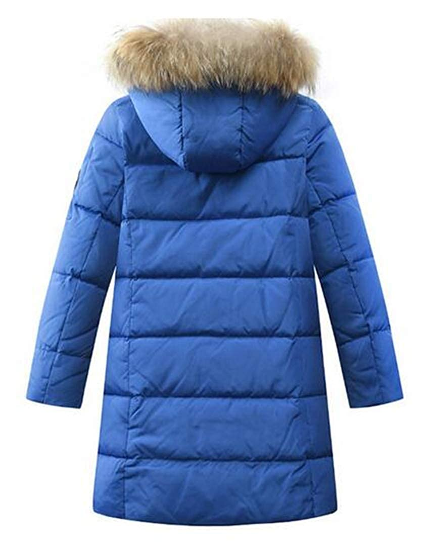 Hajotrawa Boy Overcoat Puffer Faux Fur Hooded Winter Zip Up Down Jacket Coat