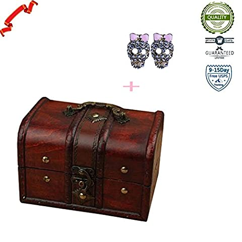 Set of 2 Pc Brown Retro Old Style Lock Wooden Box Wood Centerpiece With Lid (Return Labels For My Orders)