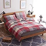 AngleKK Washed Cotton Naked Bedding set India Cotton Duvet Cover Breathable Comforter Stripes,Twin