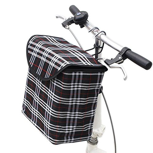 Fold up Metal Canvas Bike Basket,Sanmersen Folding Portable Canvas Front Handlebar Bicycle Basket with Detachable Hook Removable bag