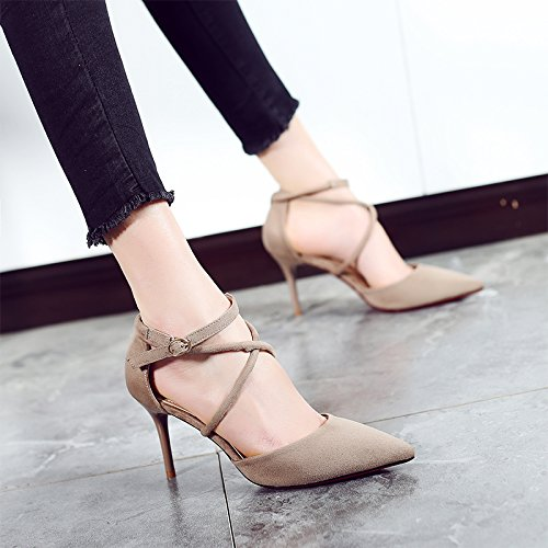 Khaki High And New Straps 8cm Wild Shoes Heels High Fine With Sandals heels Jqdyl Female Spring Summer Pointed Cross IqRw1F88xH