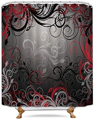 Amazon Com Riyidecor Red And Grey Black Shower Curtain Metal