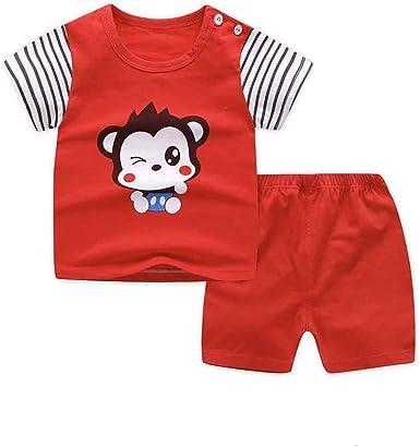 Fansu Pijamas Enteros de Manga Corta para Niños, Pijamas Dos Piezas Bebé Niña Verano Algodón Juego de Pijama Camisetas y Pantalones Estampado Animal ...